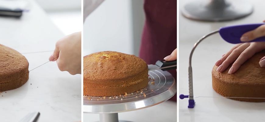 Как ровно разрезать бисквит на коржи - фото