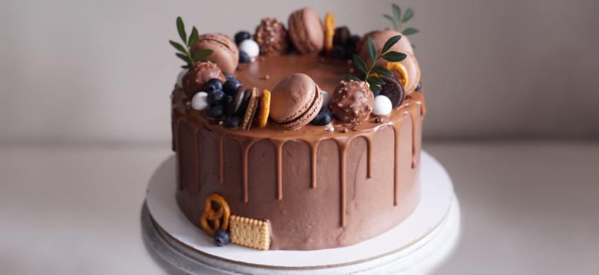 Как сделать шоколадные подтеки на торте - фото