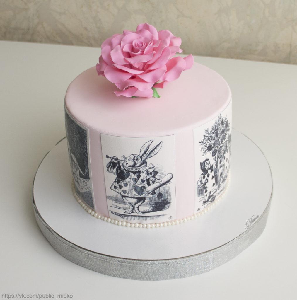 Варианты оформления торта сахарной картинкой- крепление сбоку - фото