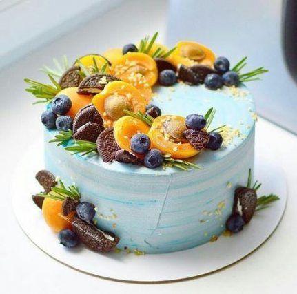 Как украсить торт голубикой - персиками - фото