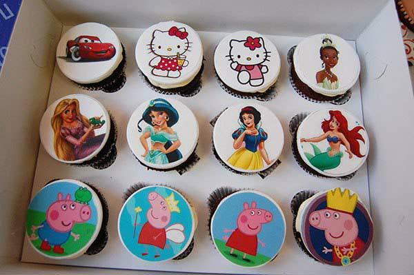 Всё про сахарную бумагу - вариант декора на детский праздник на капкейках - фото